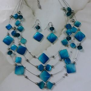 Teal Multilayer Necklace and Earring Set